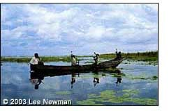 Fishermen on Lake Nawampasa show off their catch.