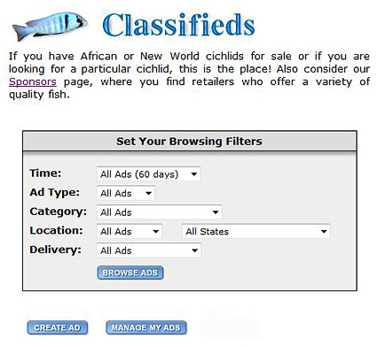 Classifieds section